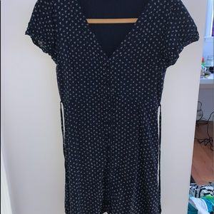 abercrombie and fitch navy blue button up dress